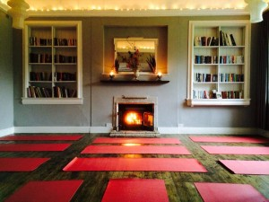 The library at Tilton House where we'll practice yoga by the open fire