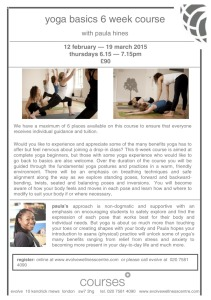 NEW Yoga Basics Course at evolve, South Kensington starts 12th February