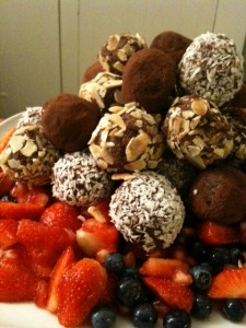 Raw Chocolate Balls on a Berry Salad - one of delicious desserts we made (and ate!) on retreat :D