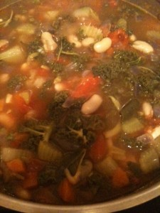 Chunky Kale & Vegetable Soup simmering on the stovetop