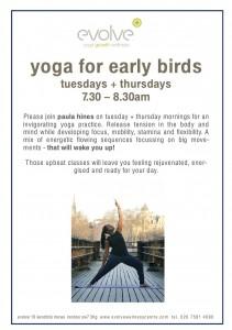 Yoga for Early Birds Tuesdays + Thursdays