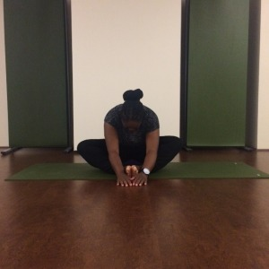 Here I'm demonstrating Butterfly Pose